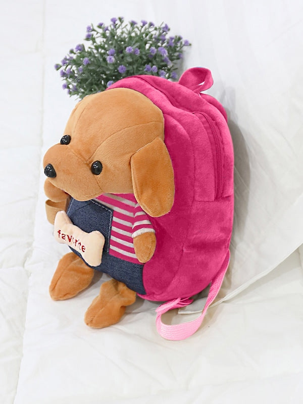 Kids Fuzzy Dog Design Backpack