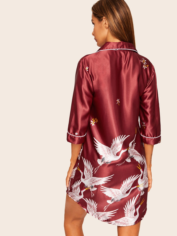 Crane Print Satin Shirt Dress