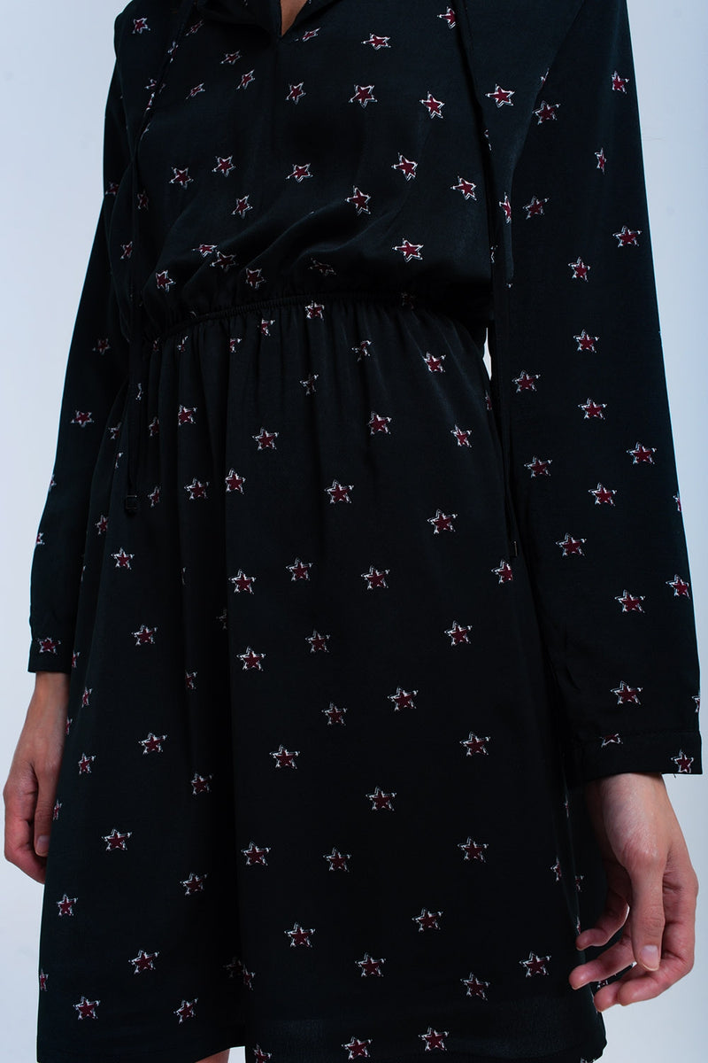 Black midi dress with stars