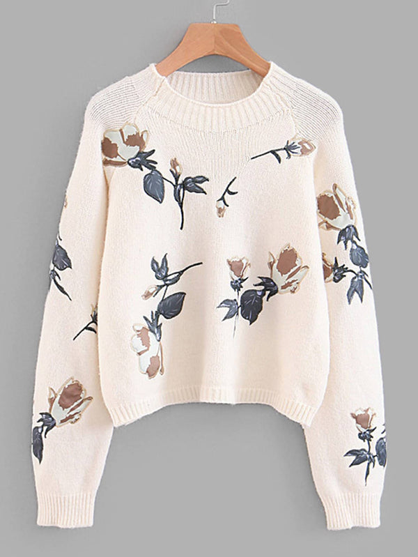 Embroidered Applique Raglan Sleeve Crop Jumper