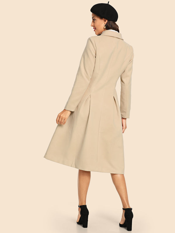 Double Button Notched Longline Coat