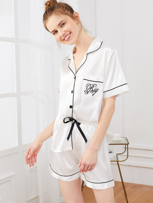 Letter Embroidered Satin Pajama Set