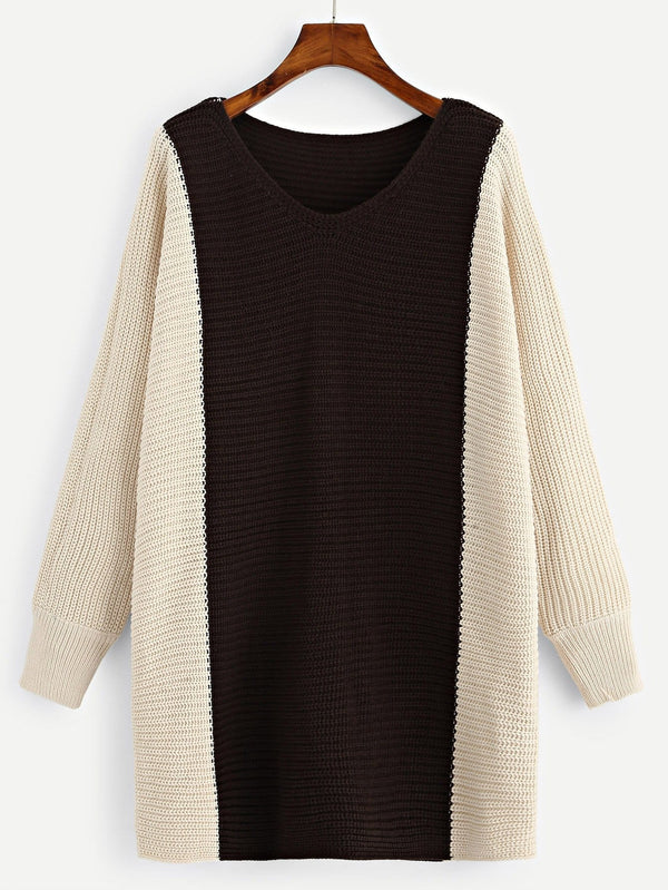 Plus Two Tone Longline Sweater