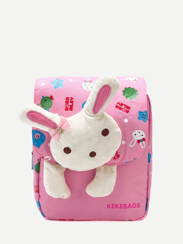 Kids Rabbit Decor Flap Backpack