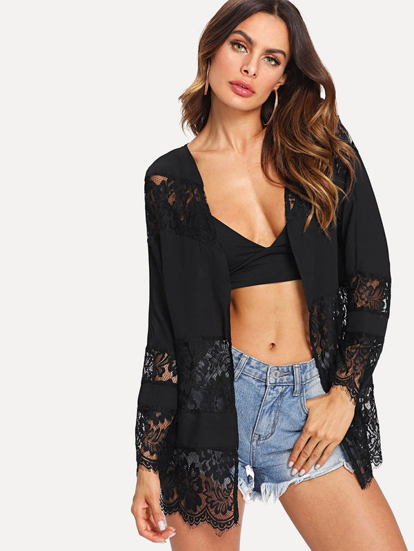 Lace Embroidered Open Front Cardigan