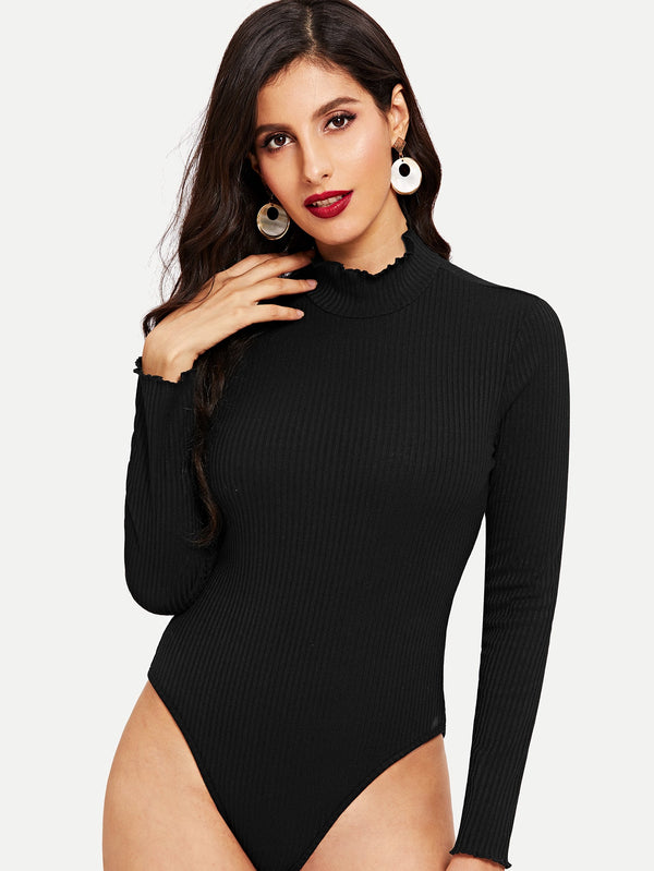 Stand Collar Form Fitting Bodysuit