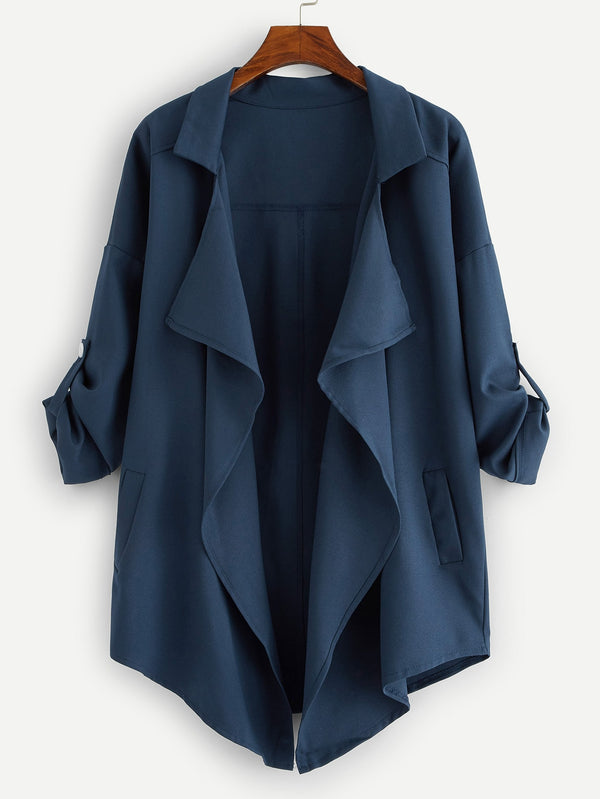 Plus Drop Shoulder Open Front Coat