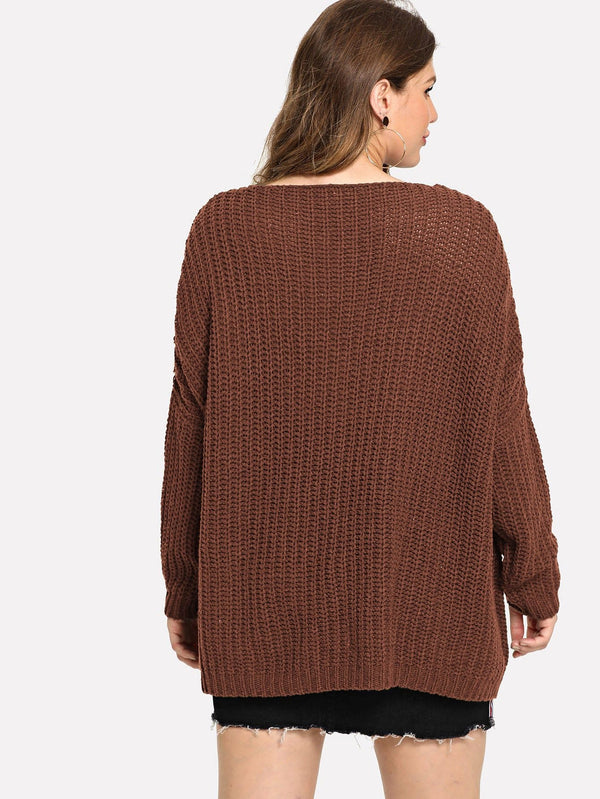 Plus Oversized Solid Sweater