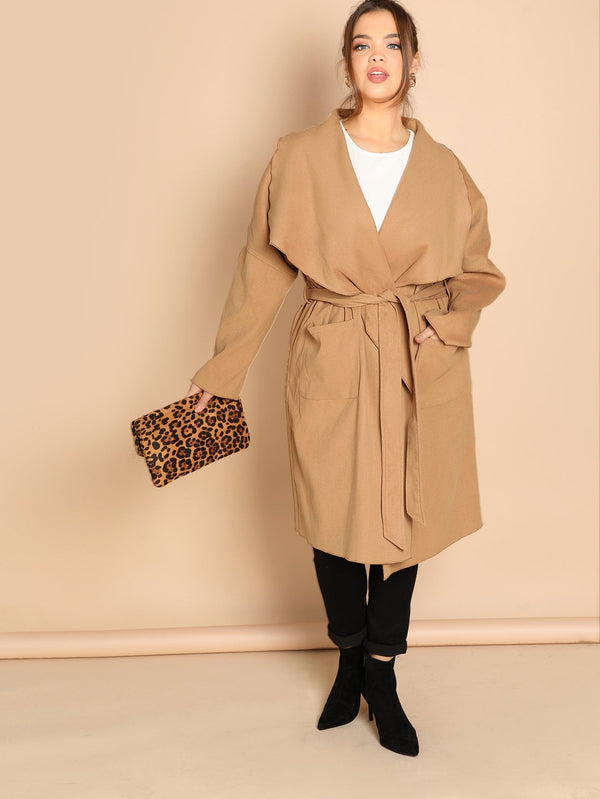 Plus Waterfall Collar Pocket Front Coat