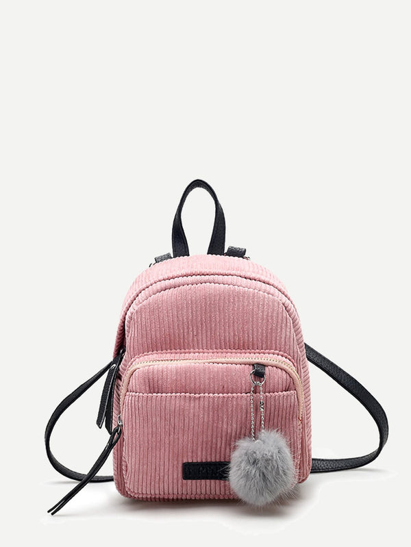 Kids Ribbed Detail Pom Pom Decor Backpack