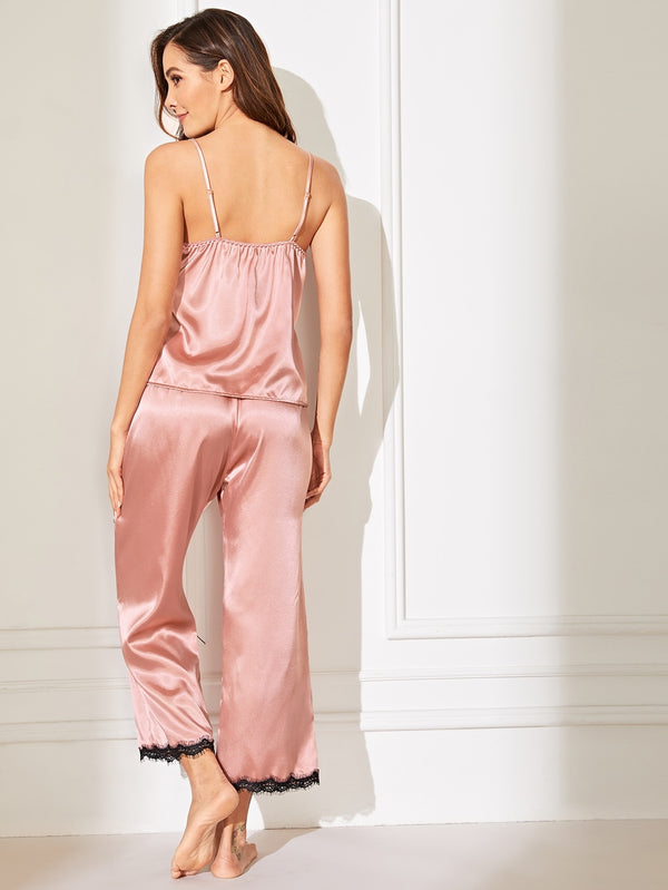 Floral Lace Satin Cami PJ Set