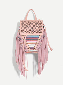 Girls Tassel Detail Cut-out Drawstring Backpack
