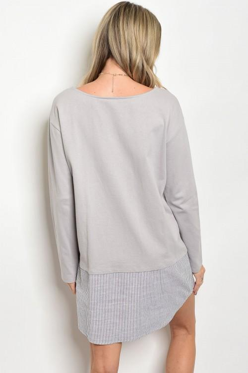 Women's Grey Long Sleeve Shirt Dress