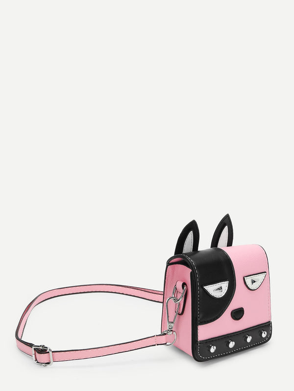 Girls Cartoon Ear Design Color-block Bag