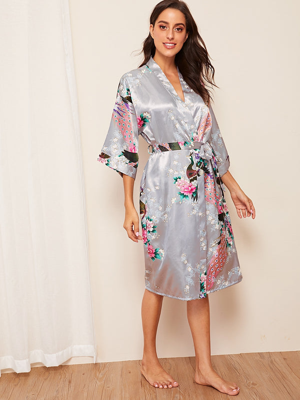 Peacock & Flower Print Satin Belted Robe