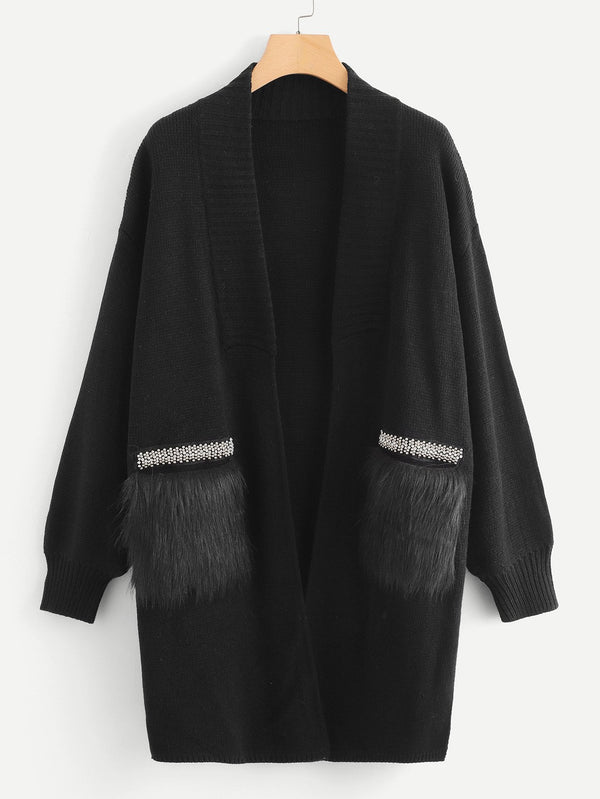 Faux Fur Pocket Patched Beaded Cardigan