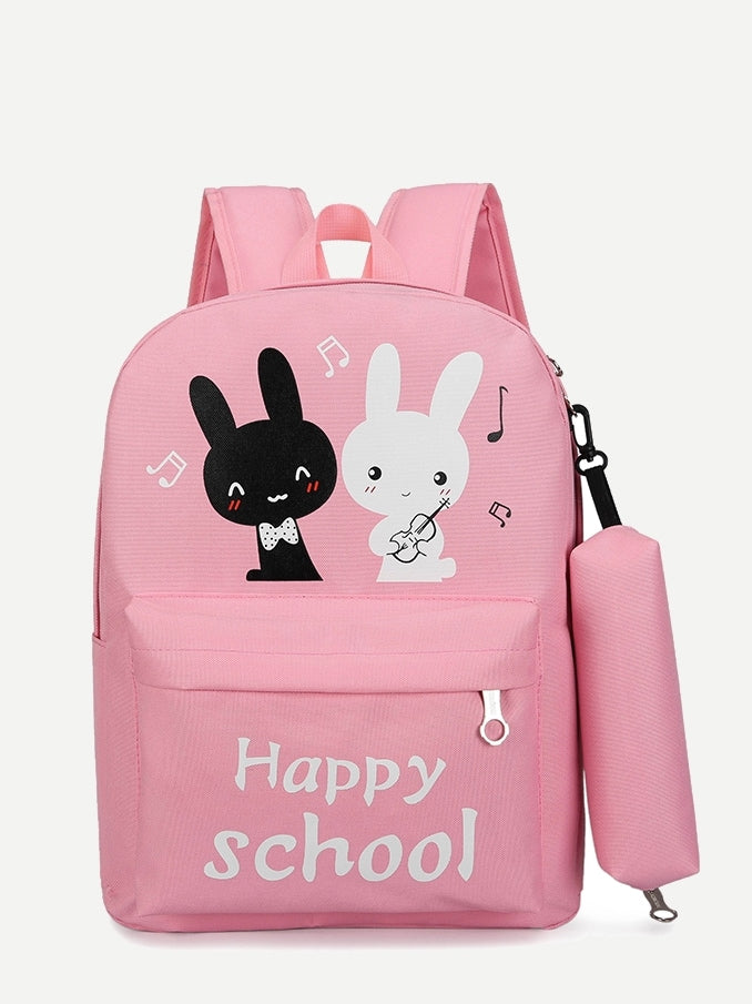 Kids Rabbit Print Backpack With Pencil Case & Shopper Bag