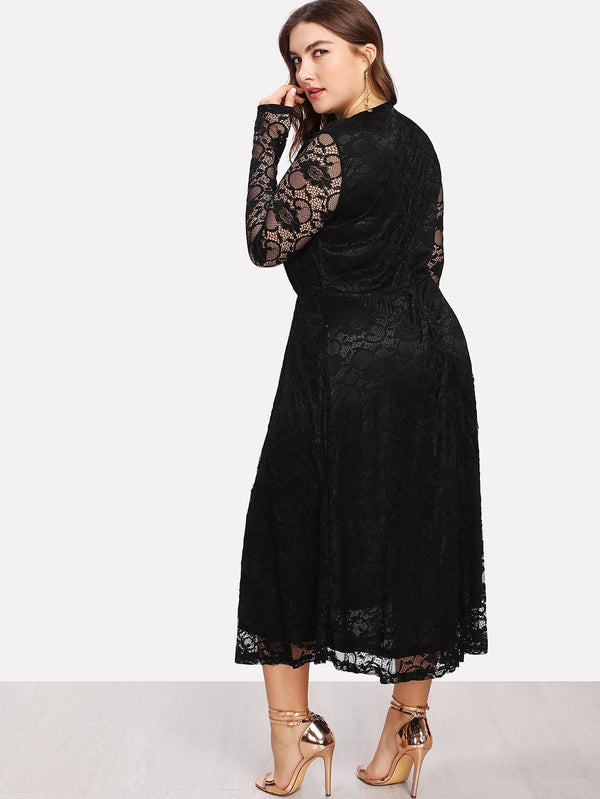 Plus Keyhole Front Fit And Flare Lace Dress