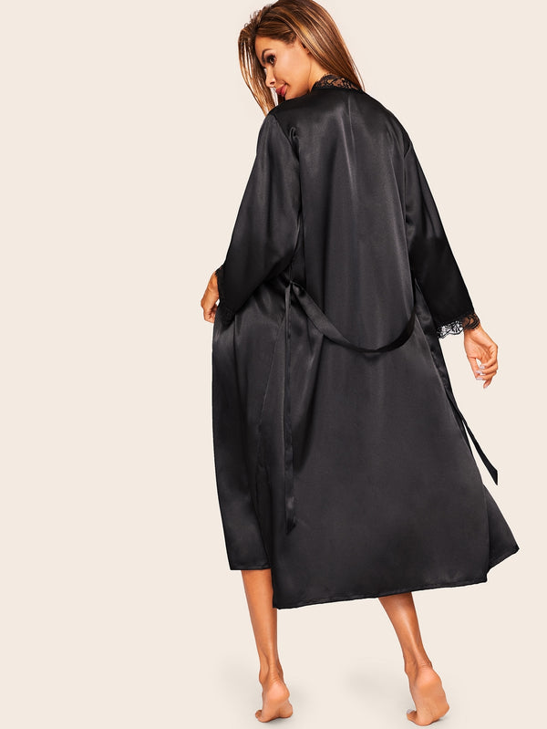 Eyelash Lace Self Belted Satin Robe
