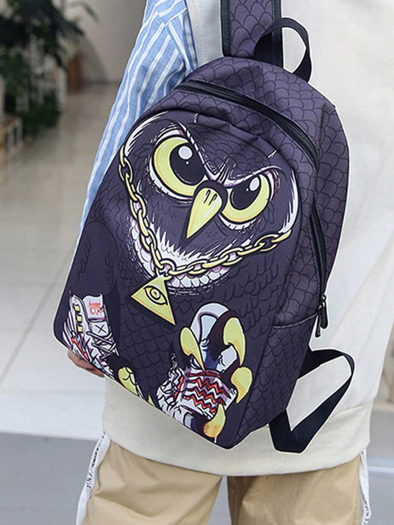 Kids Owl Design Nylon Backpack
