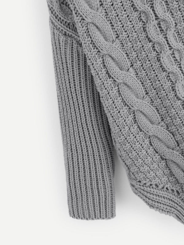 Plus Slit Side Stepped Hem Cable Knit Jumper