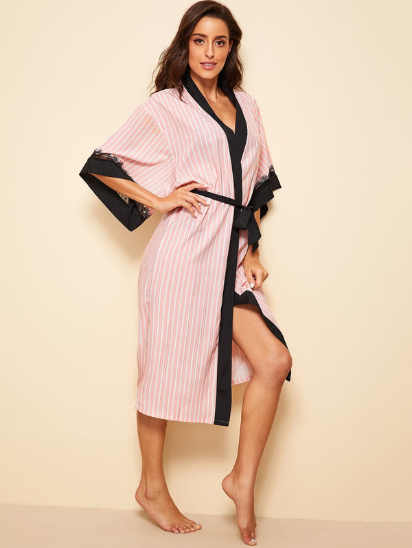 Eyelash Lace Striped Self Belted Robe