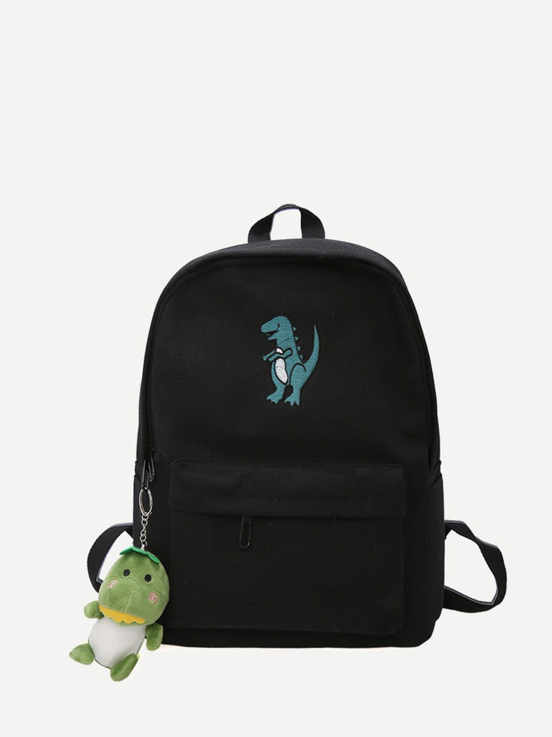 Kids Dinosaur Embroidered Canvas Backpack