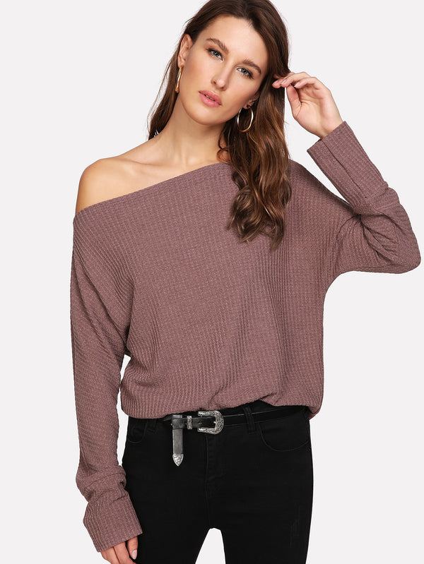 Oblique Shoulder Dolman Sleeve Jumper