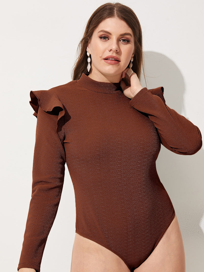 Plus Ruffle Embellished Shoulder Solid Bodysuit