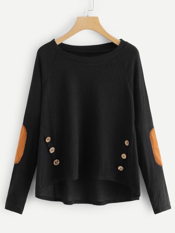 Button Decoration Raglan Sleeve Jumper