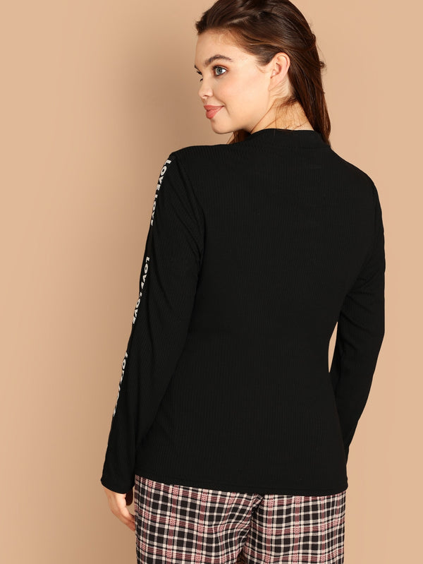 Plus Letter Tape Detail Sleeve Ribbed Top