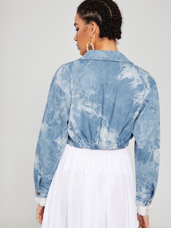 Tie Dye Pocket Front Button Up Denim Jacket