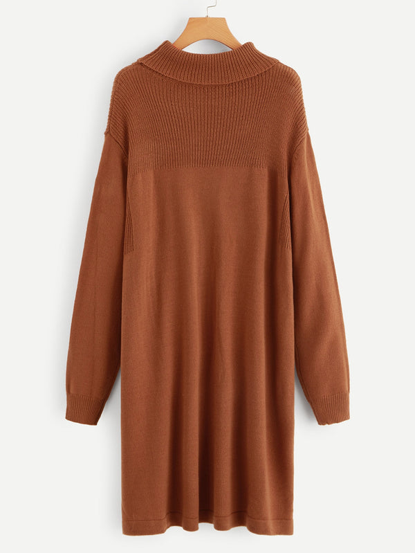 Plus Drop Shoulder Turtle Neck Solid Sweater Dress