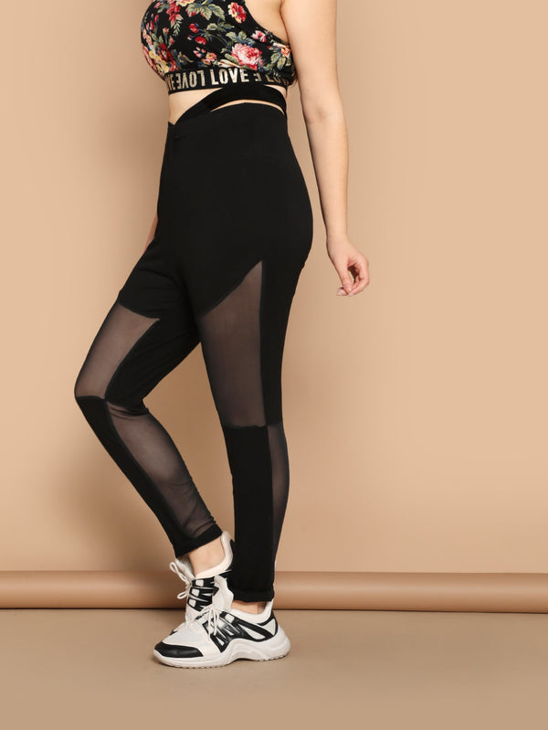 Plus Cutout Waist Mesh Inset Leggings
