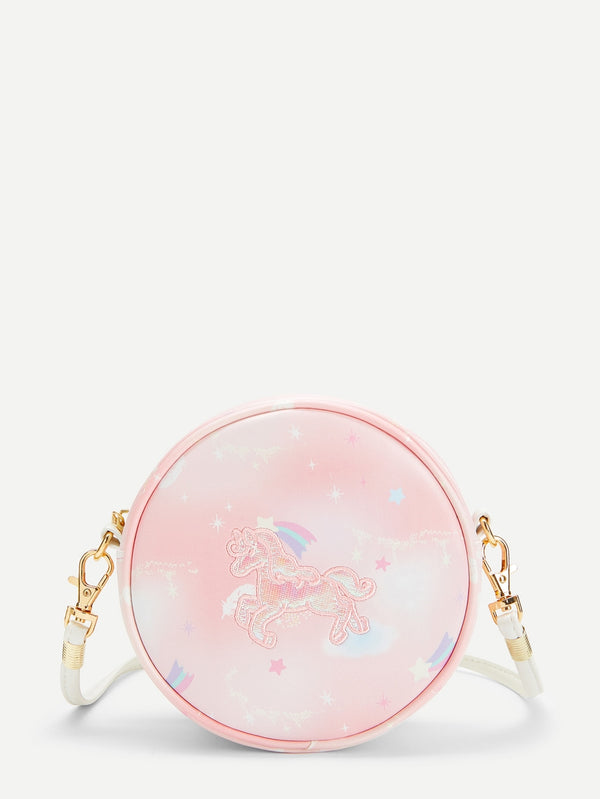 Girls Star And Unicorn Detail Round Bag