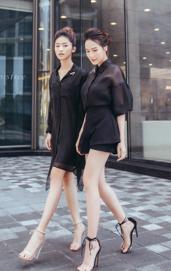 Designer black blouse - combination btw shirt and dress