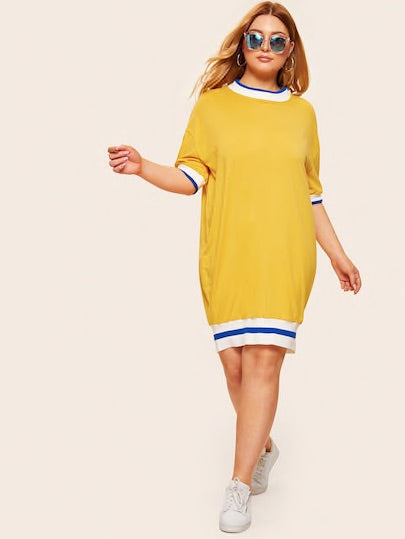 Plus Contrast Trim Drop Shoulder Dress