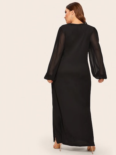Plus Contrast Mesh Split Side Maxi Dress