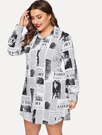 Plus Newspaper Print Curved Hem Shirt Dress
