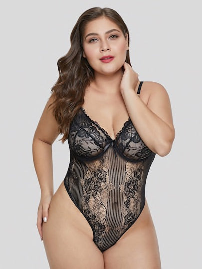 Plus Floral Lace Cut-out Sheer Teddy Bodysuit