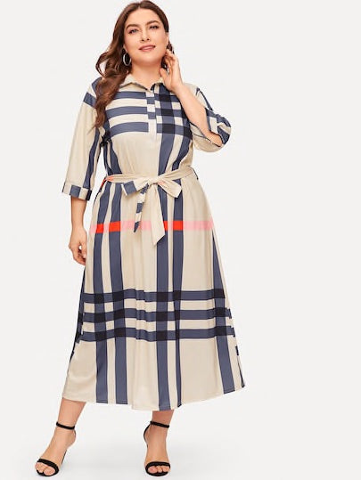Plus Plaid Self Tie Waist Dress