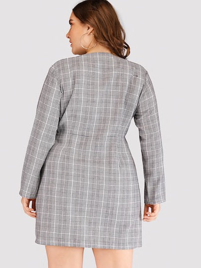 Plus Plaid Double-breasted V-neck Dress