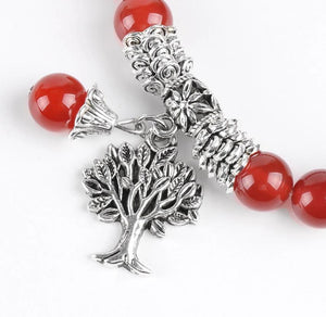 Carnelian Gemstone Tree-of-Life Bracelet