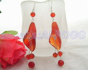 Carnelian Flower Drop Earrings