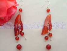 Load image into Gallery viewer, Carnelian Flower Drop Earrings