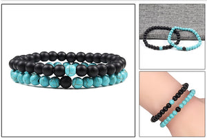 2-Piece Malachite Black Lava Natural-Stone Strand Bracelet
