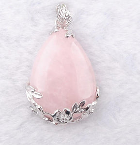 Natural Rose Quartz Teardrop Pendant with Chain