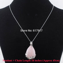 Load image into Gallery viewer, Natural Rose Quartz Teardrop Pendant with Chain