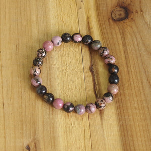 Natural Black Onyx, Rhodonite & Rose Quartz Stackable Bracelets