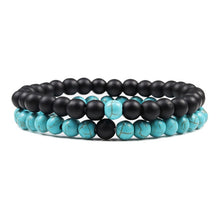 Load image into Gallery viewer, 2-Piece Malachite Black Lava Natural-Stone Strand Bracelet